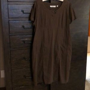 Brown Linen High Waisted Dress w/ Front Pockets